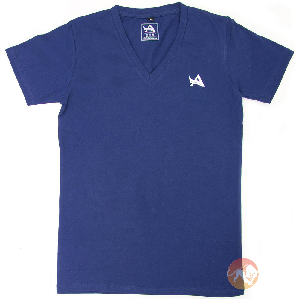 TEE V-Neck Navy White Large