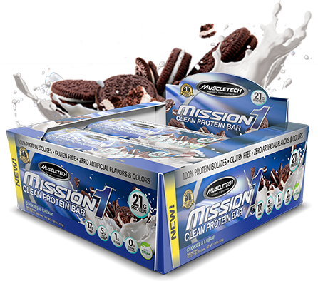 Mission 1 Bar 12 Bars Cookies and Cream Dated