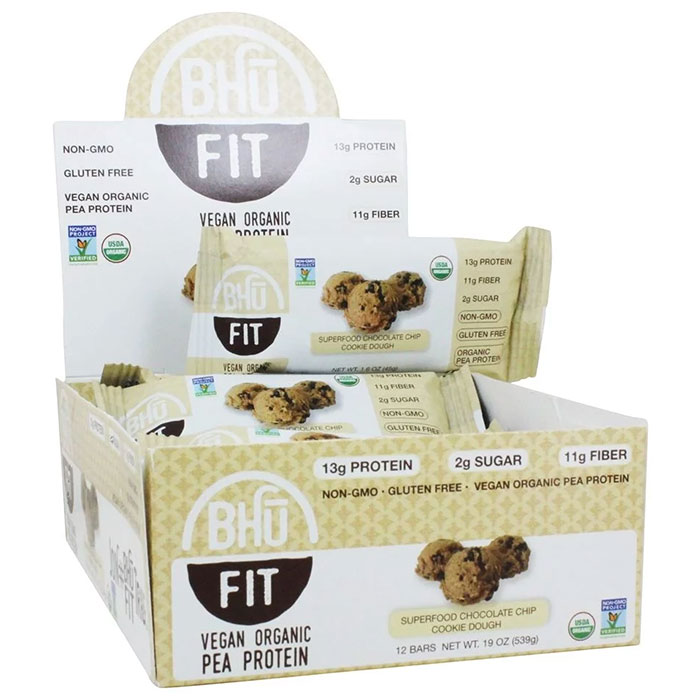 Bhu Fit Organic Vegan Protein Bar 12 Bars Chocolate Chip Cookie Dough