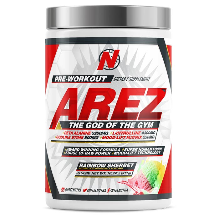 Image of NTEL Nutra Arez 25 Servings Rainbow Sherbert