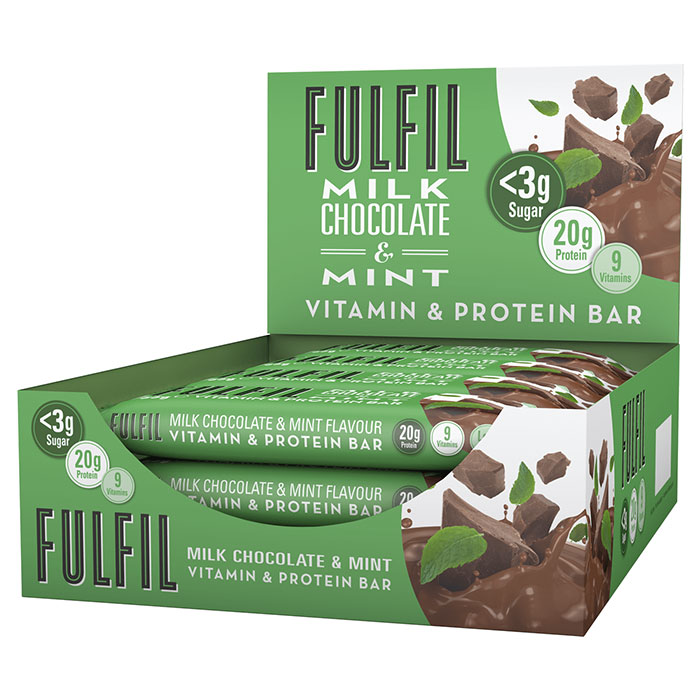Image of Fulfil Nutrition Fulfil Vitamin and Protein Bar 15 Bars Milk Chocolate and Mint