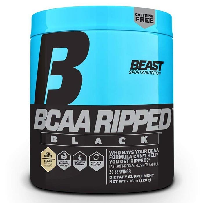 Image of Beast Sports Nutrition BCAA Ripped Black 20 Servings Iced Coffee