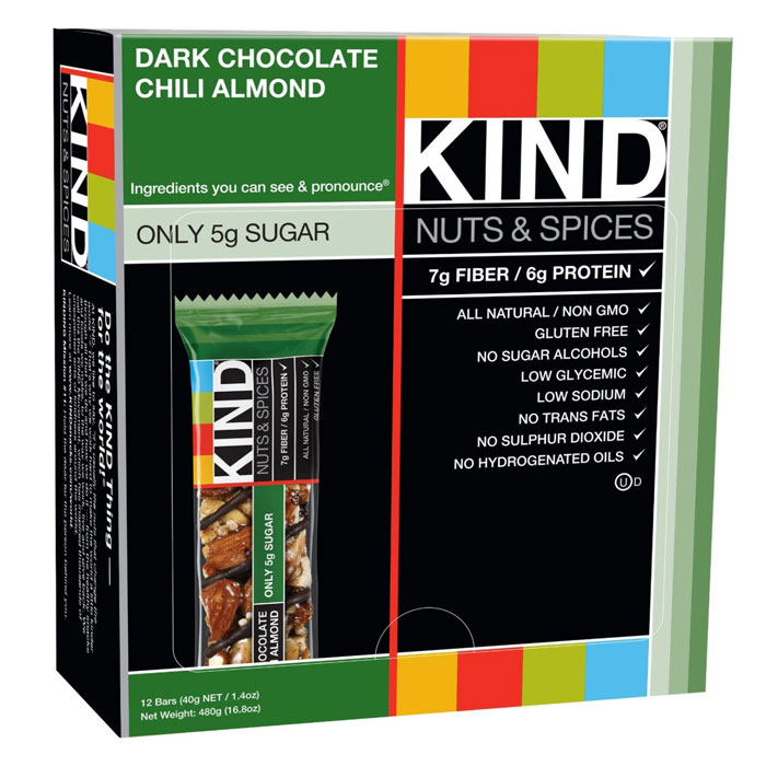 Image of Kind Snacks Kind Bars Nuts and Spices 12 Bars Dark Chocolate Chilli Almond