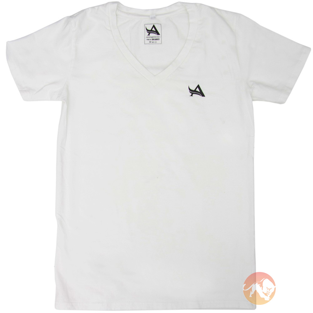 TEE V-Neck White Black Medium