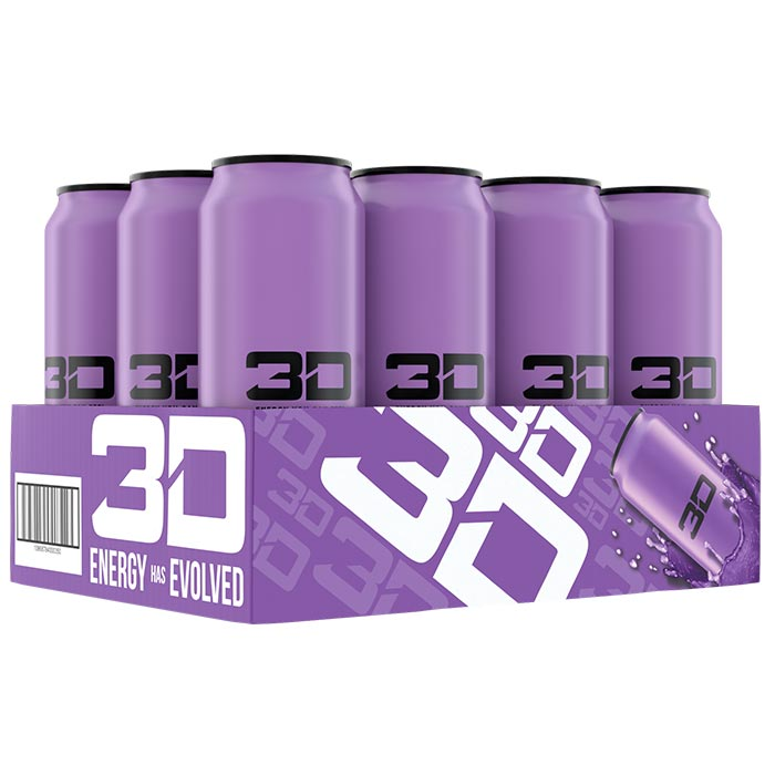 Image of 3D Energy 3D Energy Drink 12 Cans Purple