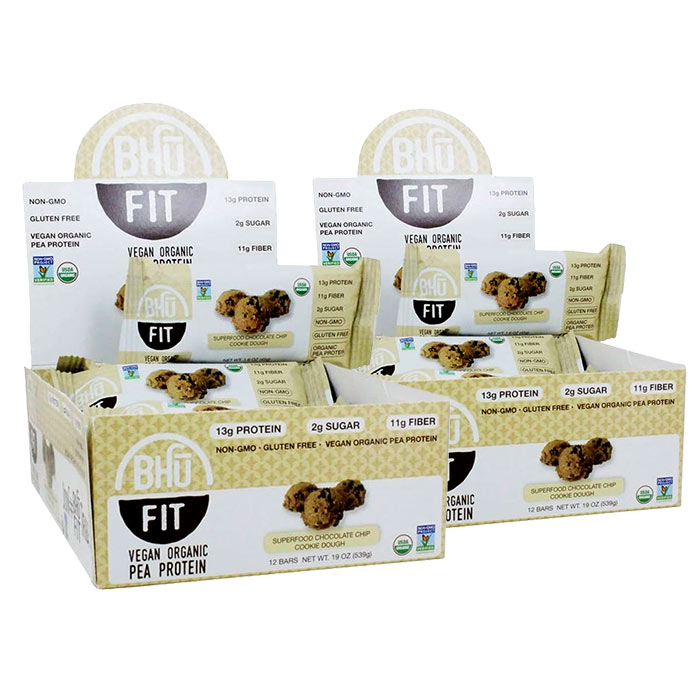 Bhu Fit Organic Vegan Protein Bar 12 Bars Peanut Butter and Chocolate Chip
