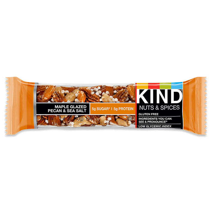 Kind Bars Nuts and Spices 1 Bar Maple Glazed Pecan and Sea Salt