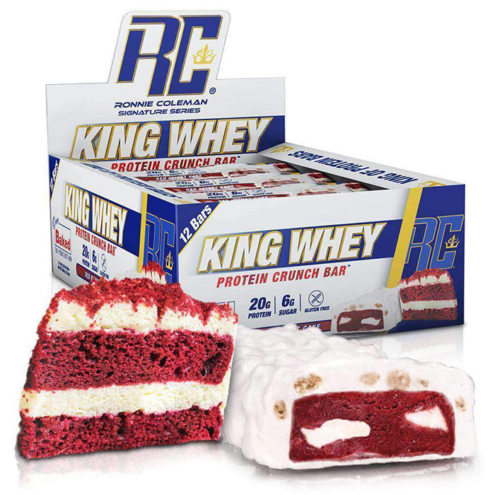 Image of Ronnie Coleman SignatureSeries King Whey Protein Crunch 12 Bars Red Velvet Cake