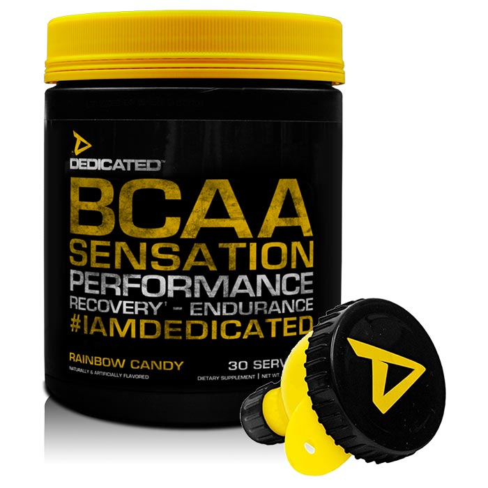 Image of Dedicated Nutrition BCAA Sensation 30 Servings Rainbow Candy