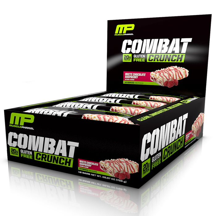 Image of MusclePharm Combat Crunch Bars 12 Bars - White Chocolate Raspberry