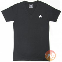 TEE V-Neck Black White Large