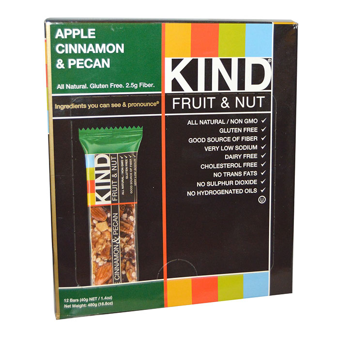 Image of Kind Snacks Kind Bars Fruit and Nut 12 Bars Apple Cinnamon and Pecan