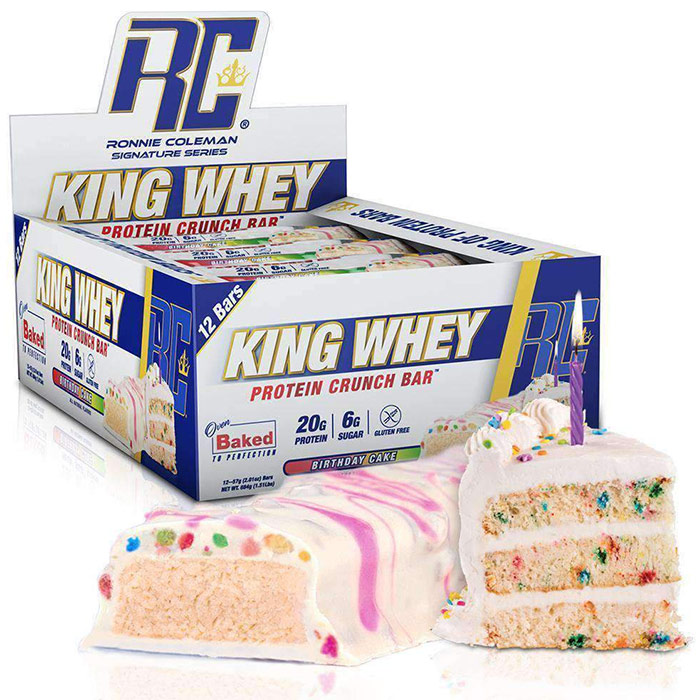 Image of Ronnie Coleman SignatureSeries King Whey Protein Crunch 12 Bars Birthday Cake