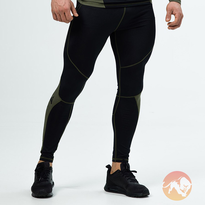 Compression Pants Army Black Green Medium