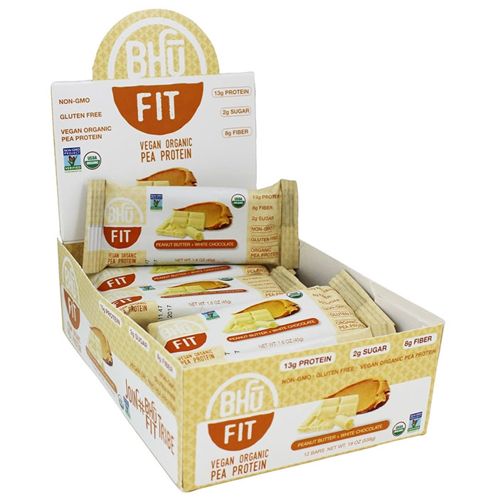 Bhu Fit Organic Vegan Protein Bar 12 Bars Peanut Butter and White Chocolate