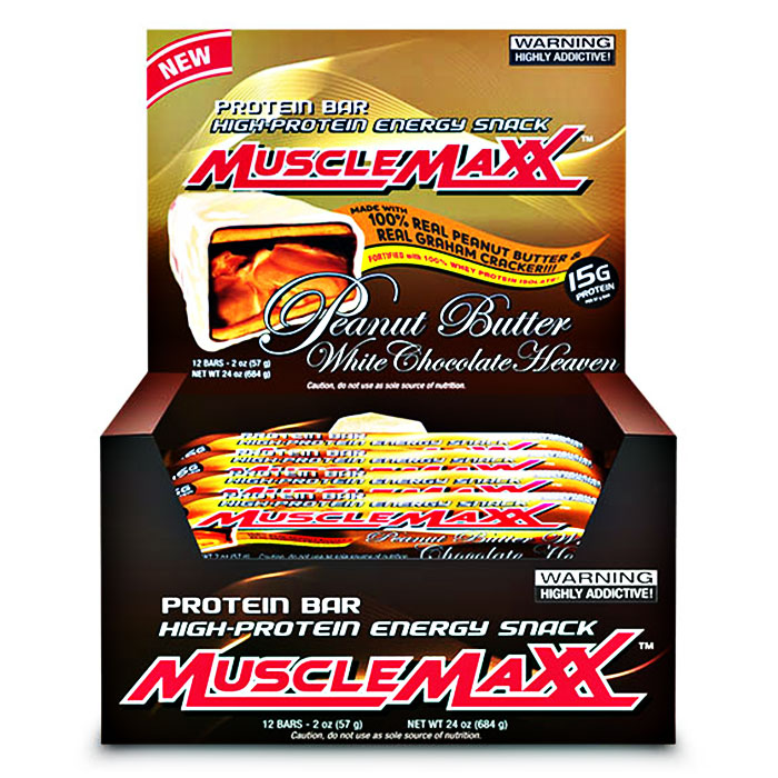 MuscleMaxx Bars 12 Bars Peanut Butter White Chocolate Heaven