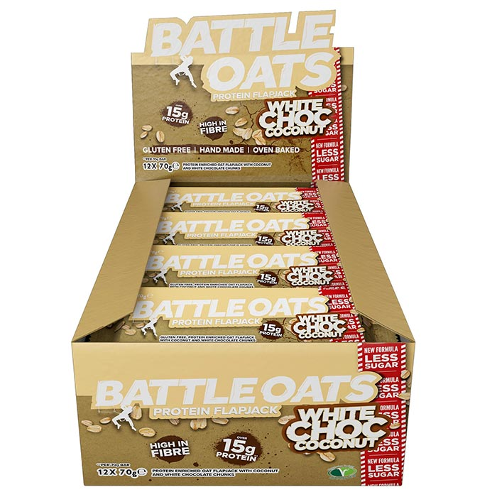 Image of Battle Oats Battle Oats Protein Flapjack 12 Flapjacks White Chocolate & Coconut