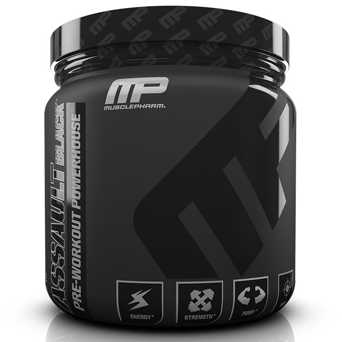 Image of MusclePharm Assault Black 30 Servings Strawberry Lime