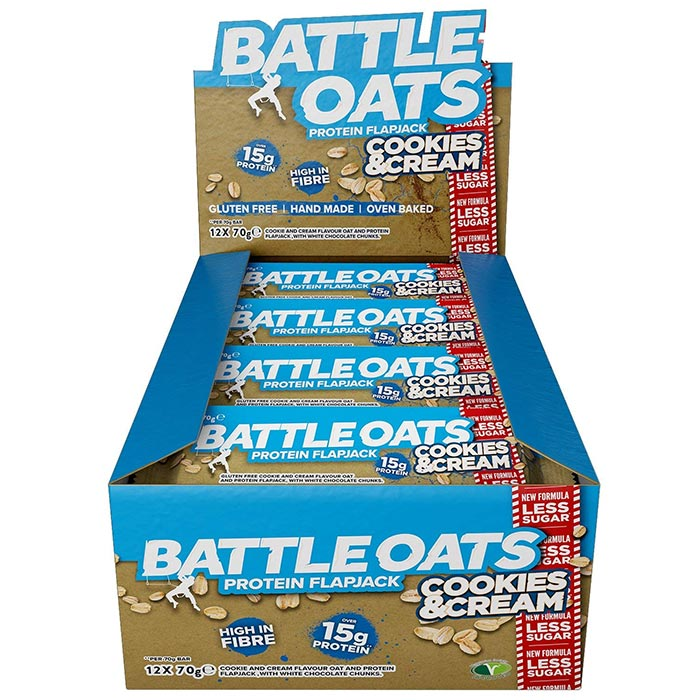 Image of Battle Oats Battle Snacks Protein Flapjack 12 Flapjacks Cookies and Cream