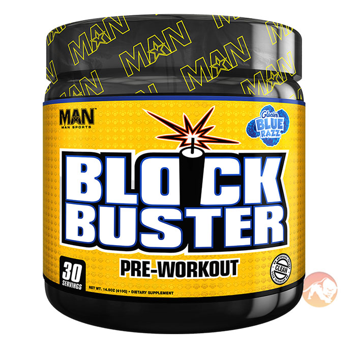 Image of Man Sports BlockBuster 30 Servings Glacier Blue Razz