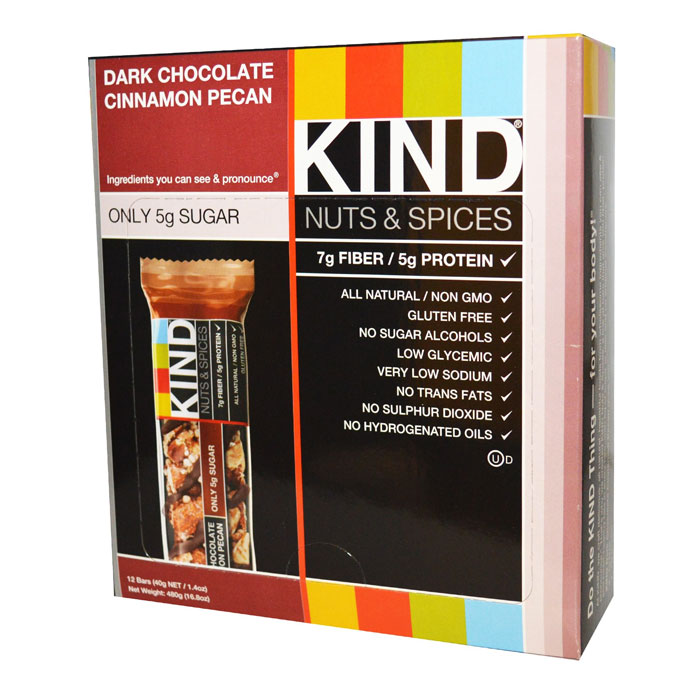 Image of Kind Snacks Kind Bars Nuts and Spices 12 Bars Dark Chocolate Cinnamon Pecan