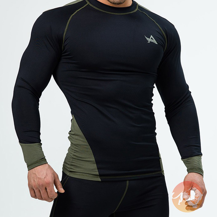 Tee Longsleeve Compression Black Army Green Large