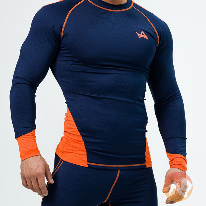 Tee Longsleeve Compression Navy Orange Large